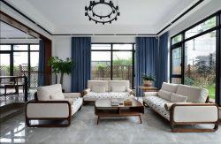 新中式别墅客厅蓝色窗帘装修效果图片图片
