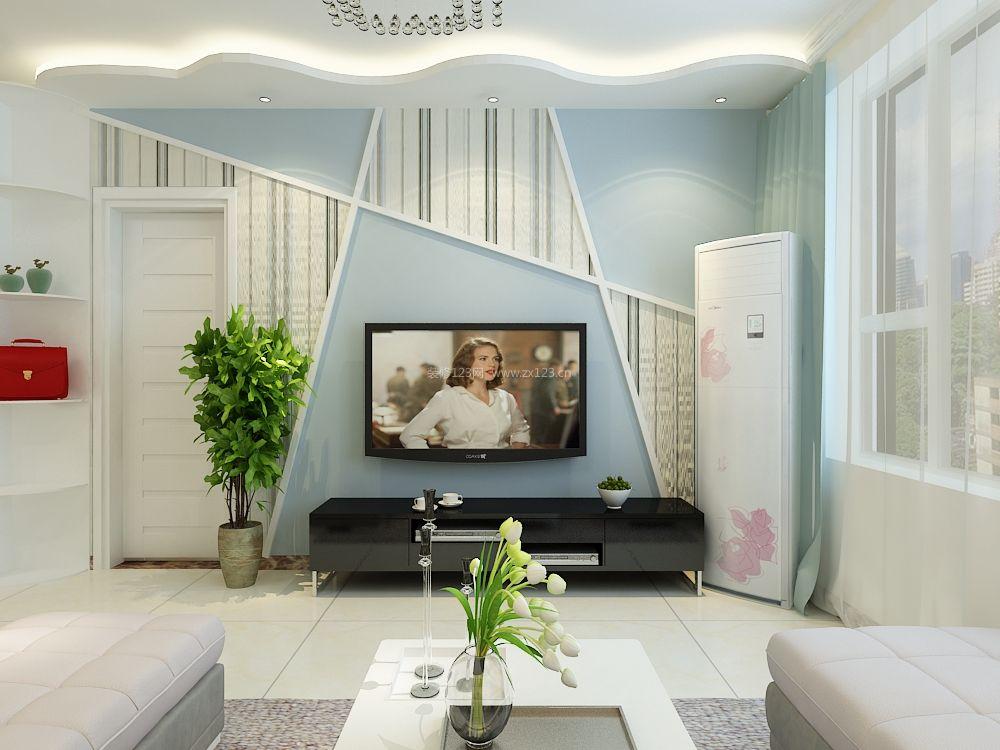 2017现代田园风格客厅电视背景墙设计实景图