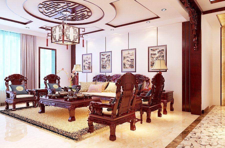 中式风格好看的客厅吊顶图图片
