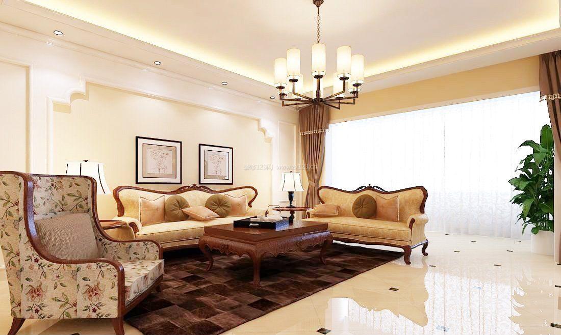 美式家装好看的客厅吊顶图_装修123效果图图片