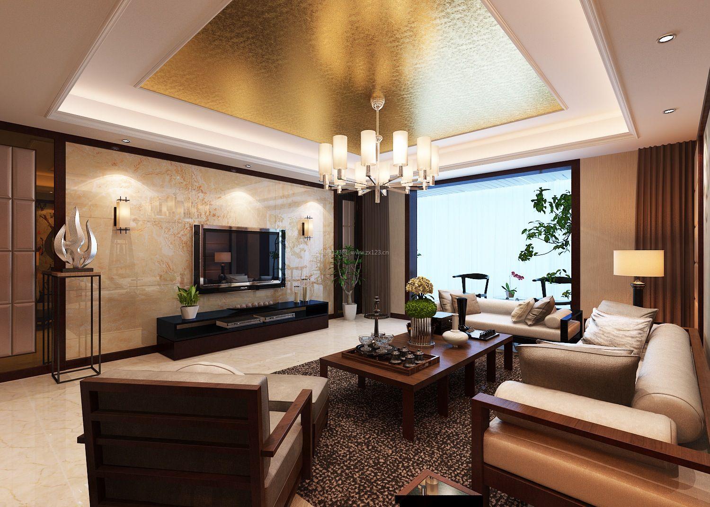 简单新中式客厅大理石电视背景墙装修效果图