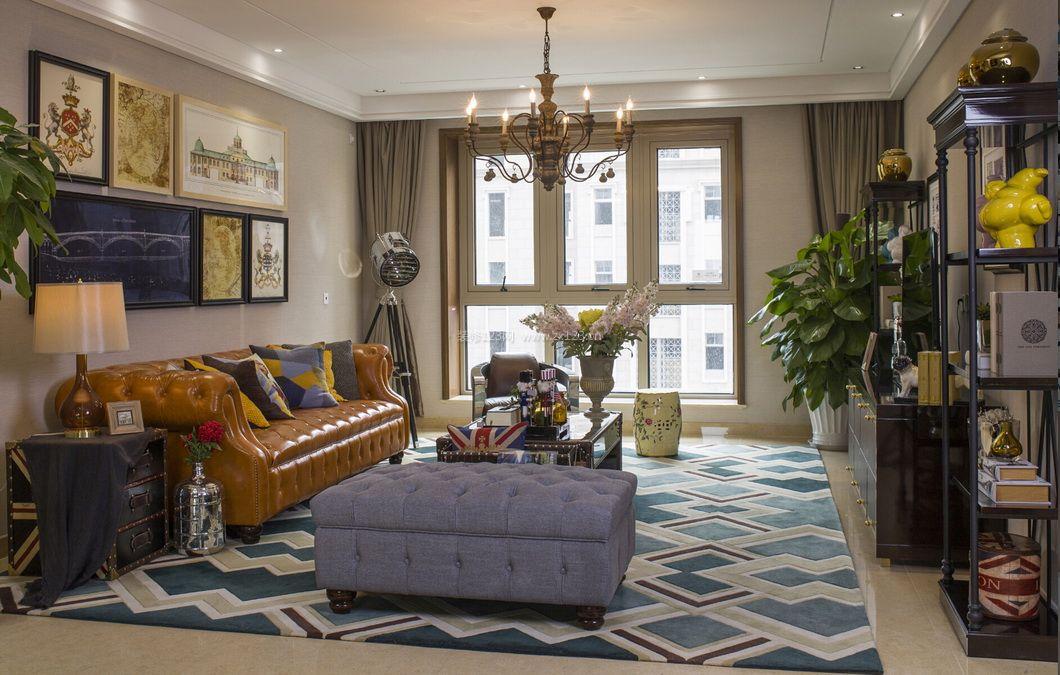 美式风格客厅沙发背景墙装饰画装修效果图图片