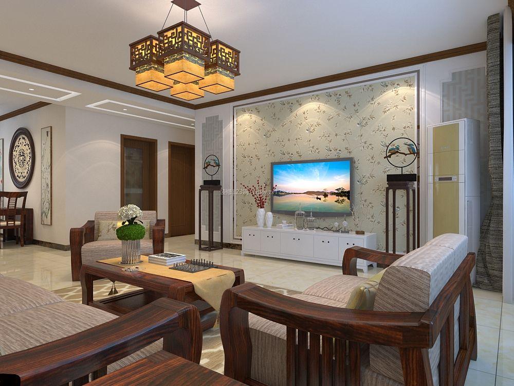 2017新中式客厅电视墙壁纸设计装修效果图