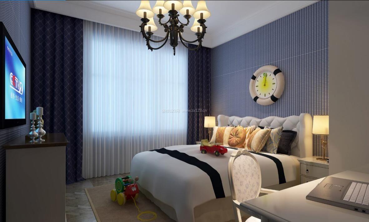 2017简约家居卧室印花窗帘装修设计效果图片