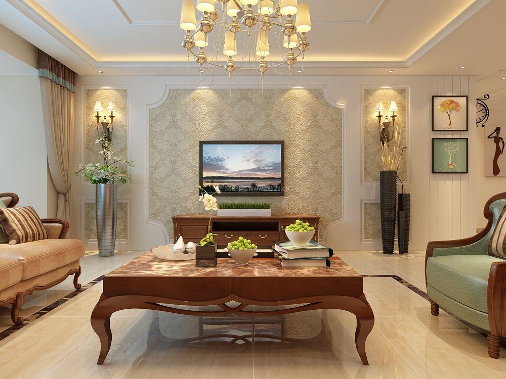 2017简约欧式客厅电视背景墙墙纸装修效果图大全图片