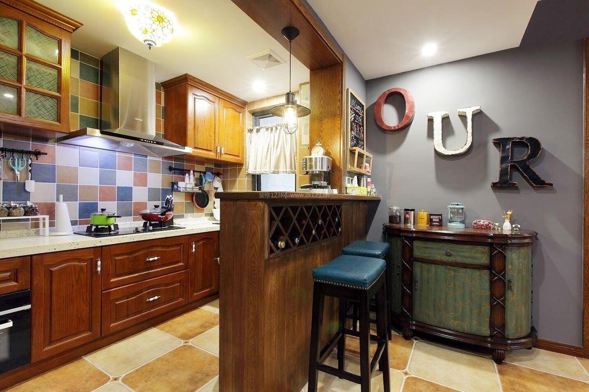 2017美式风格家庭小厨房设计图片_装修123效果图图片