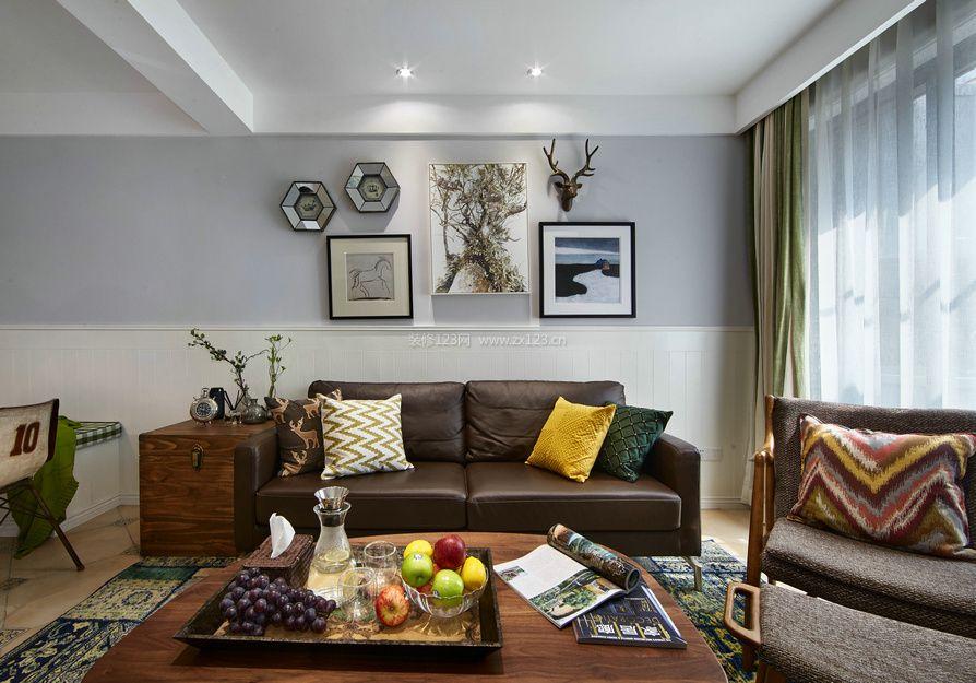 美式乡村客厅沙发背景墙装饰装修效果图图片