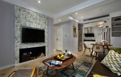 美式乡村客厅壁炉电视墙装修效果图图片