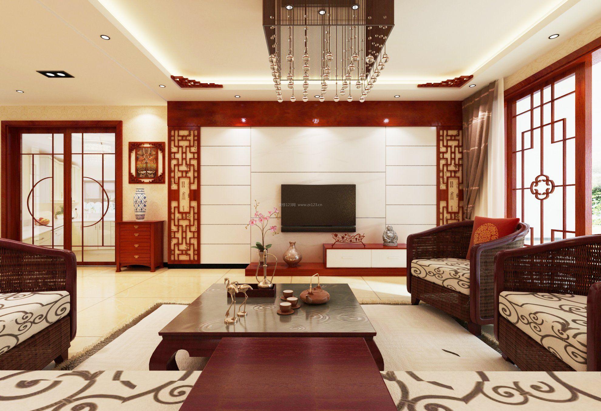 中式别墅客厅电视墙隐形门图片大全