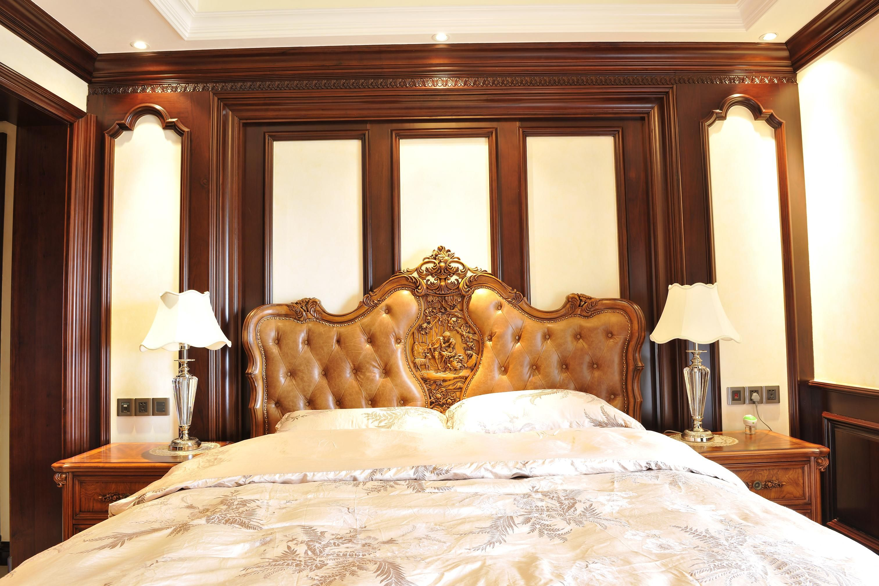 2017美式家居卧室床头背景墙装修效果图片图片