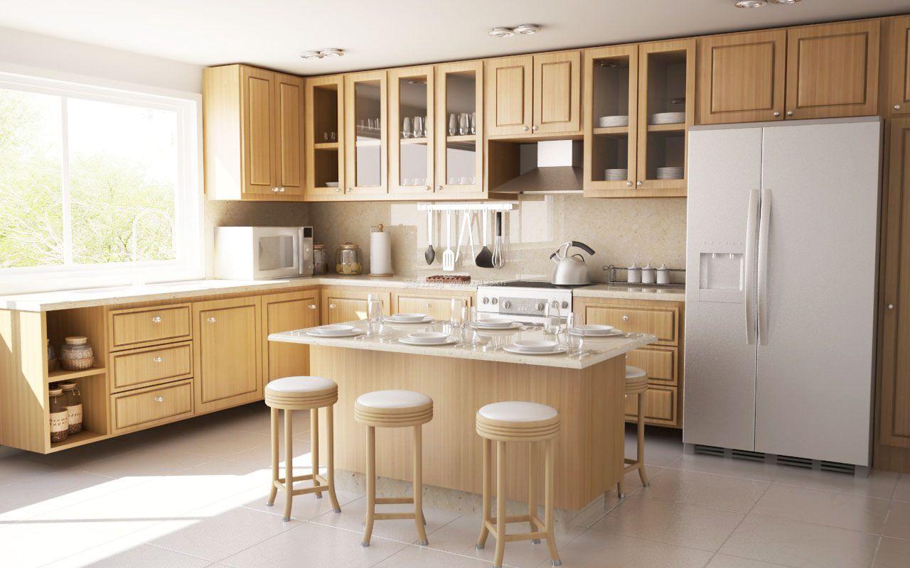 现代风格家装厨房中岛效果图