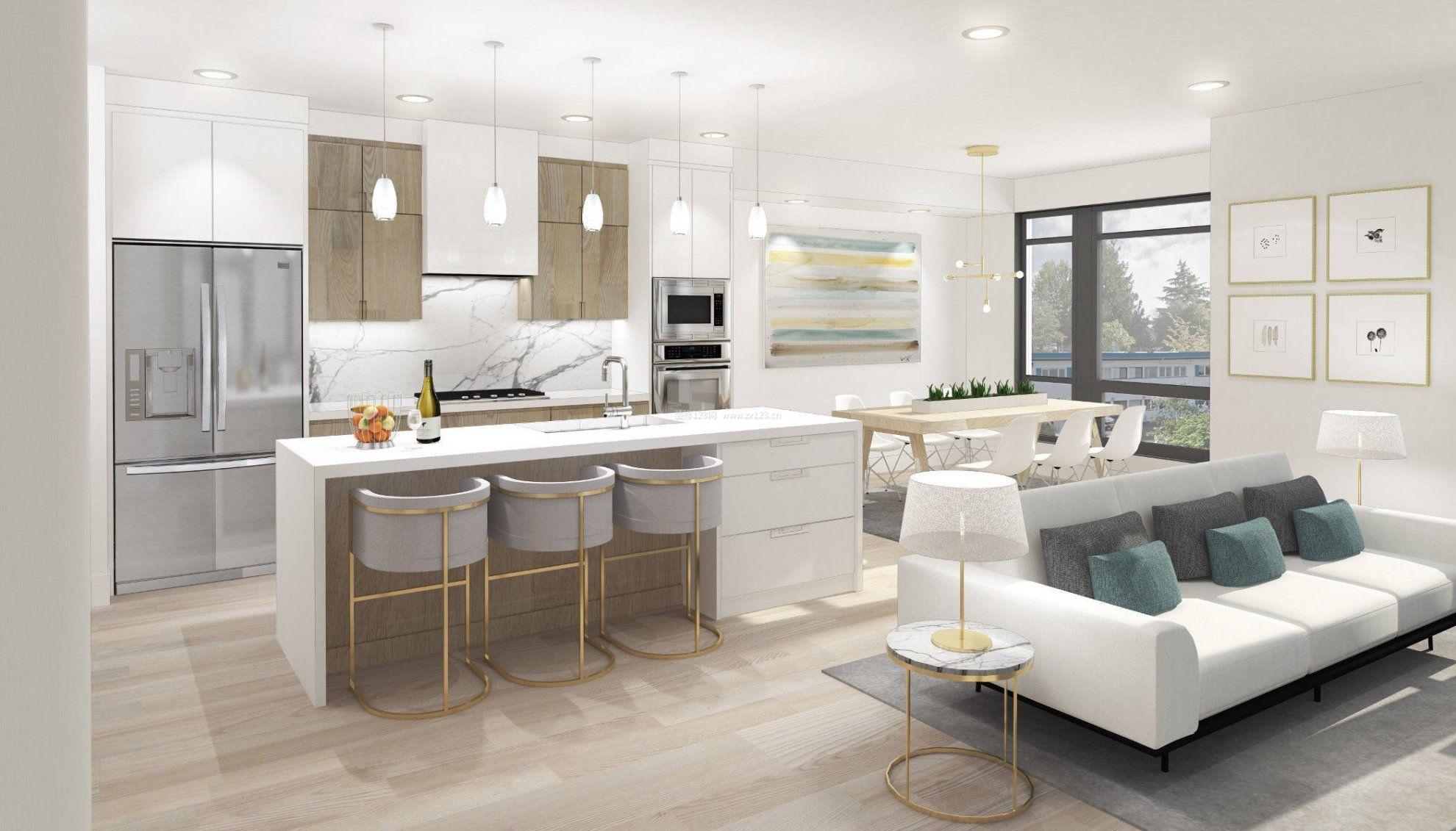 40平米小户型家装厨房中岛效果图