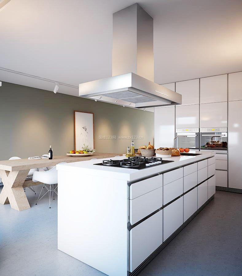 2017现代开放式厨房中岛装修效果图片