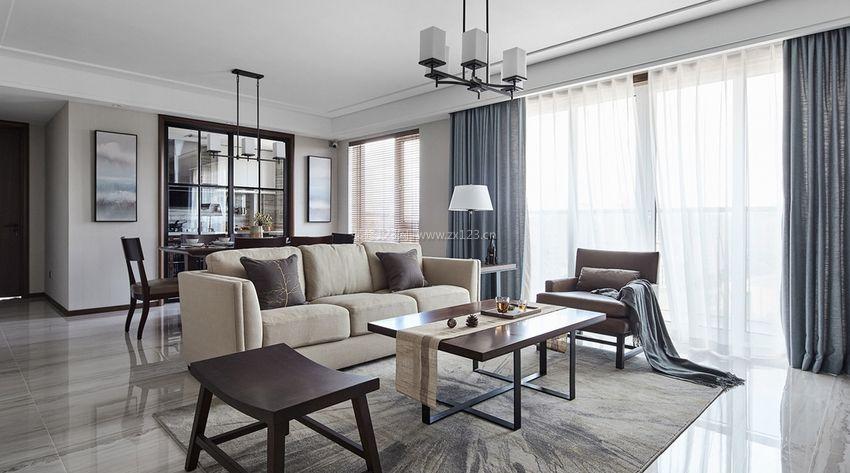2017现代简约中式风格客餐厅装修效果图欣赏