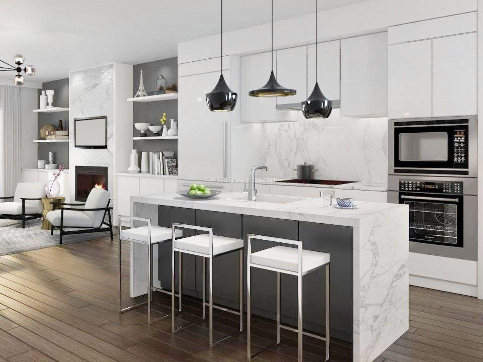 2017创意厨房中岛吧台装修效果图