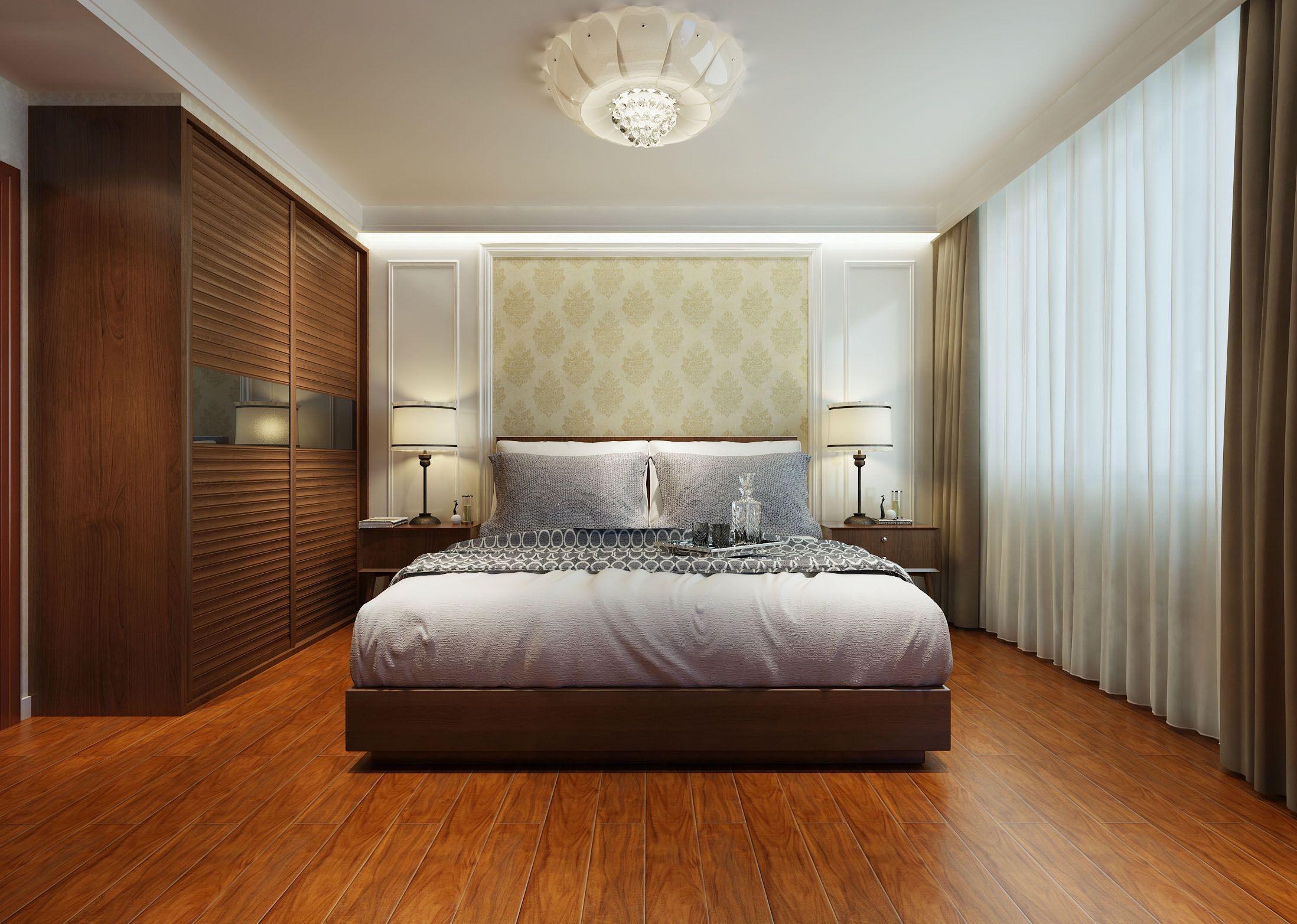 家装效果图 中式 2017新中式卧室实木衣柜推拉门装修效果图 提供者