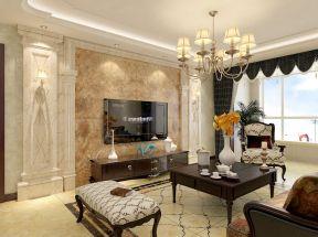 经典美式客厅大理石电视背景墙装修效果图