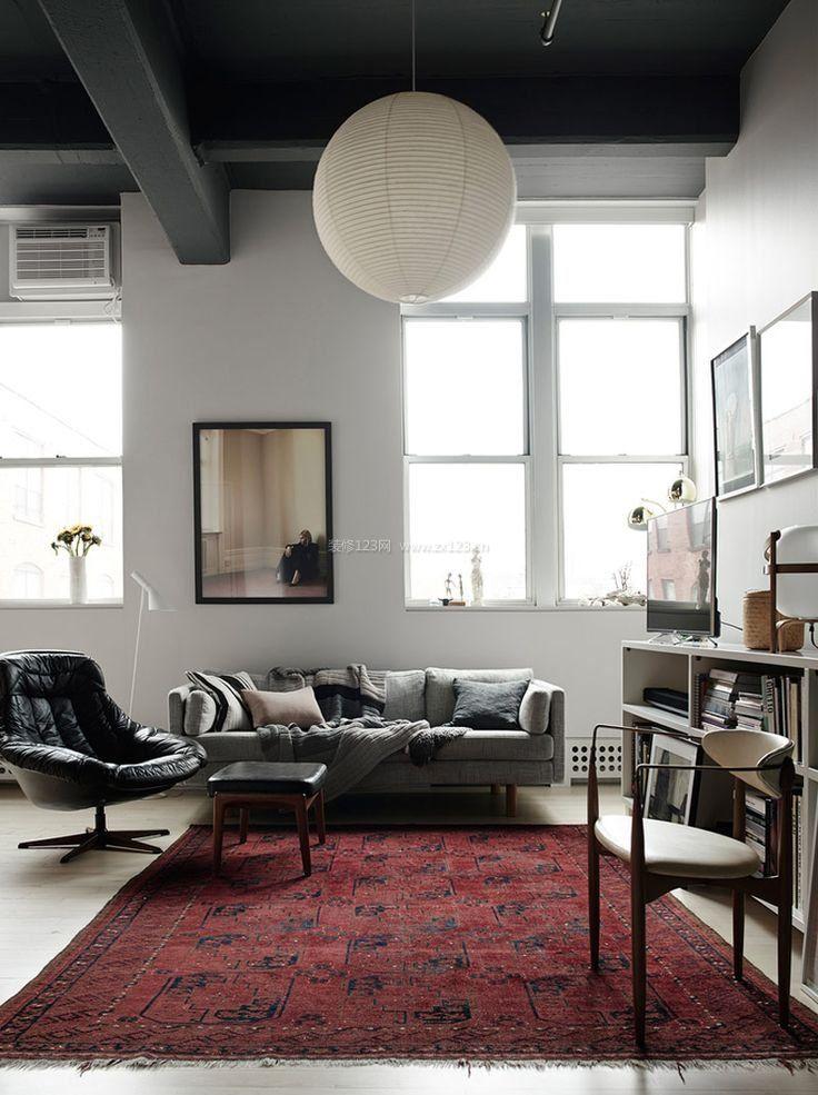 两室一厅现代简约风格室内地毯装修效果图
