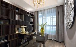 新中式書房灰色窗簾裝修效果圖片