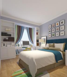 地中海风格卧室飘窗电脑桌设计案例图片