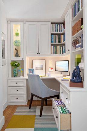 平米小书房书桌书柜组合装修效果图片2017-淑女房装修效果图片
