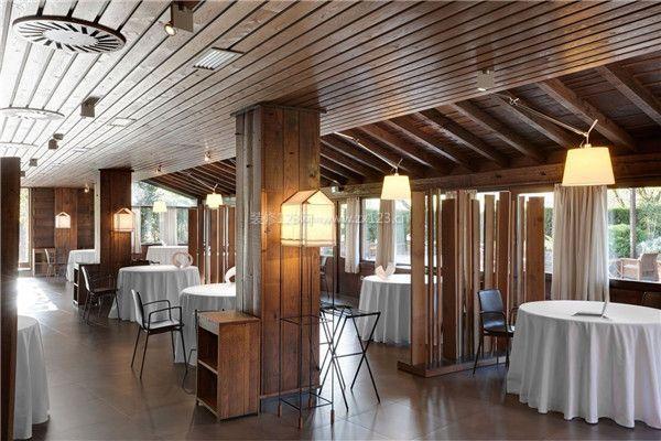 餐馆装修木制吊顶设计效果图图片