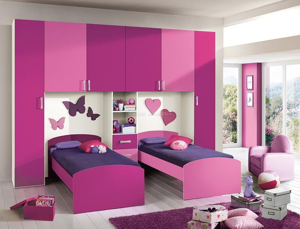 双人儿童房卧室藕荷色墙面漆装修效果图图片