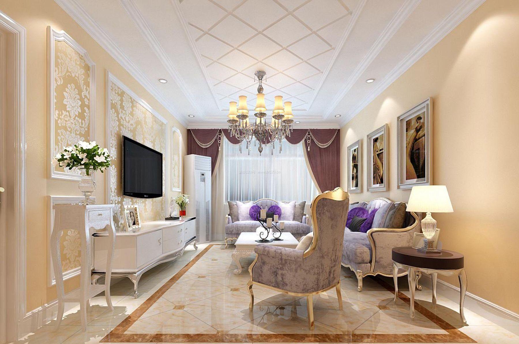 奢华欧式长方形客厅电视背景墙装修效果图2017图片