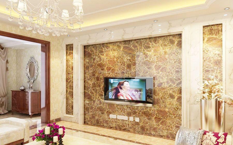奢华欧式电视背景瓷砖墙面装修效果图