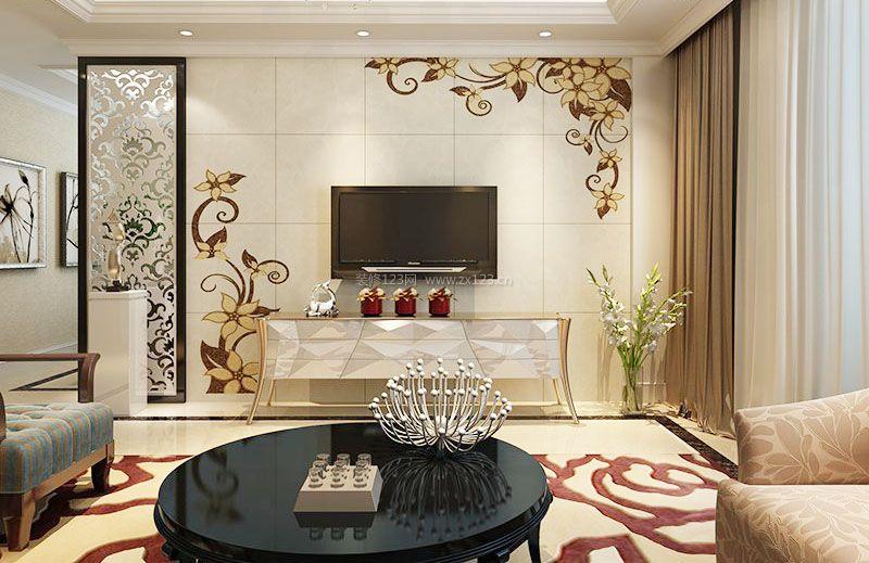 奢华欧式雕花电视背景墙装修效果图