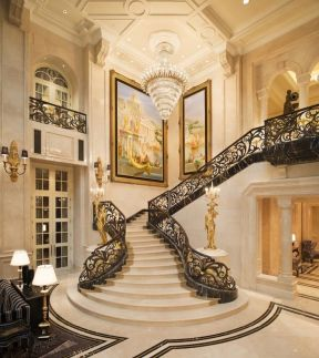 别墅大厅楼梯效果图片 2017豪华别墅装潢