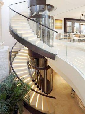 别墅大厅楼梯效果图片 2017室内旋转楼梯施工图片