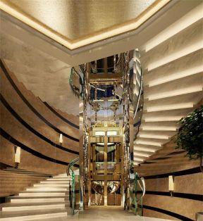 别墅大厅楼梯效果图片 电梯洋房装修图片图片
