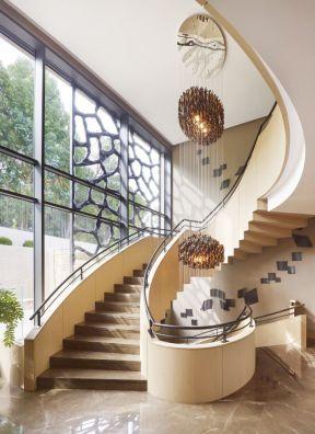 别墅大厅楼梯效果图片 2017现代别墅旋转楼梯图片