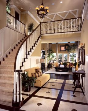 别墅大厅楼梯效果图片 2017美式古典装修图片
