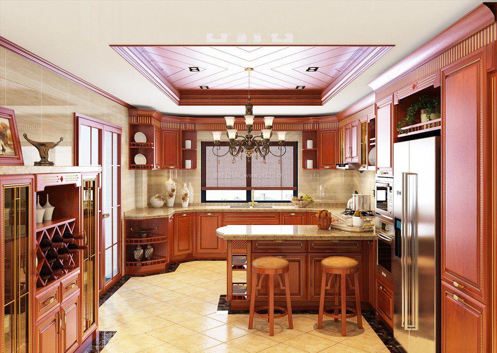 别墅厨房实木酒柜吧台效果图