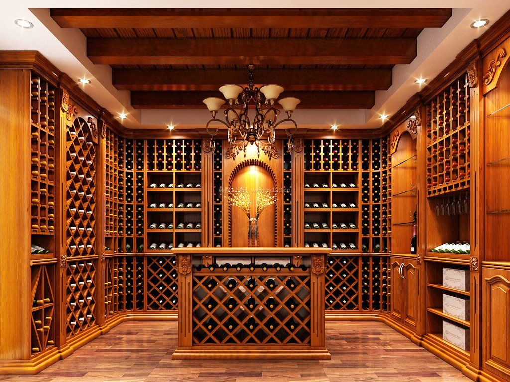 酒窖实木酒柜吧台效果图