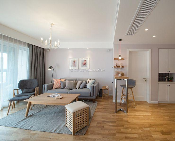 现代北欧风格客厅吧台隔断装修效果图大全图片