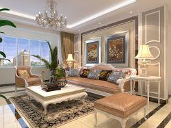 新房歐式客廳沙發背景墻裝修效果圖片