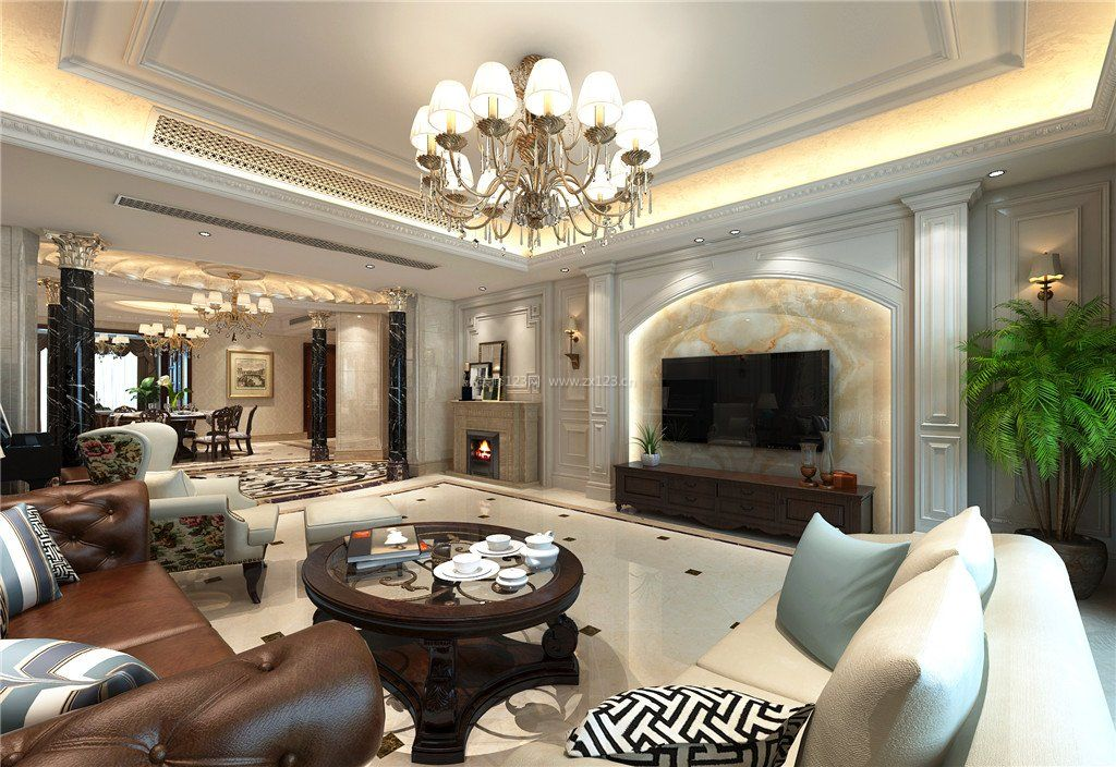 古典欧式客厅微晶石电视背景墙效果图_装修123效果图图片