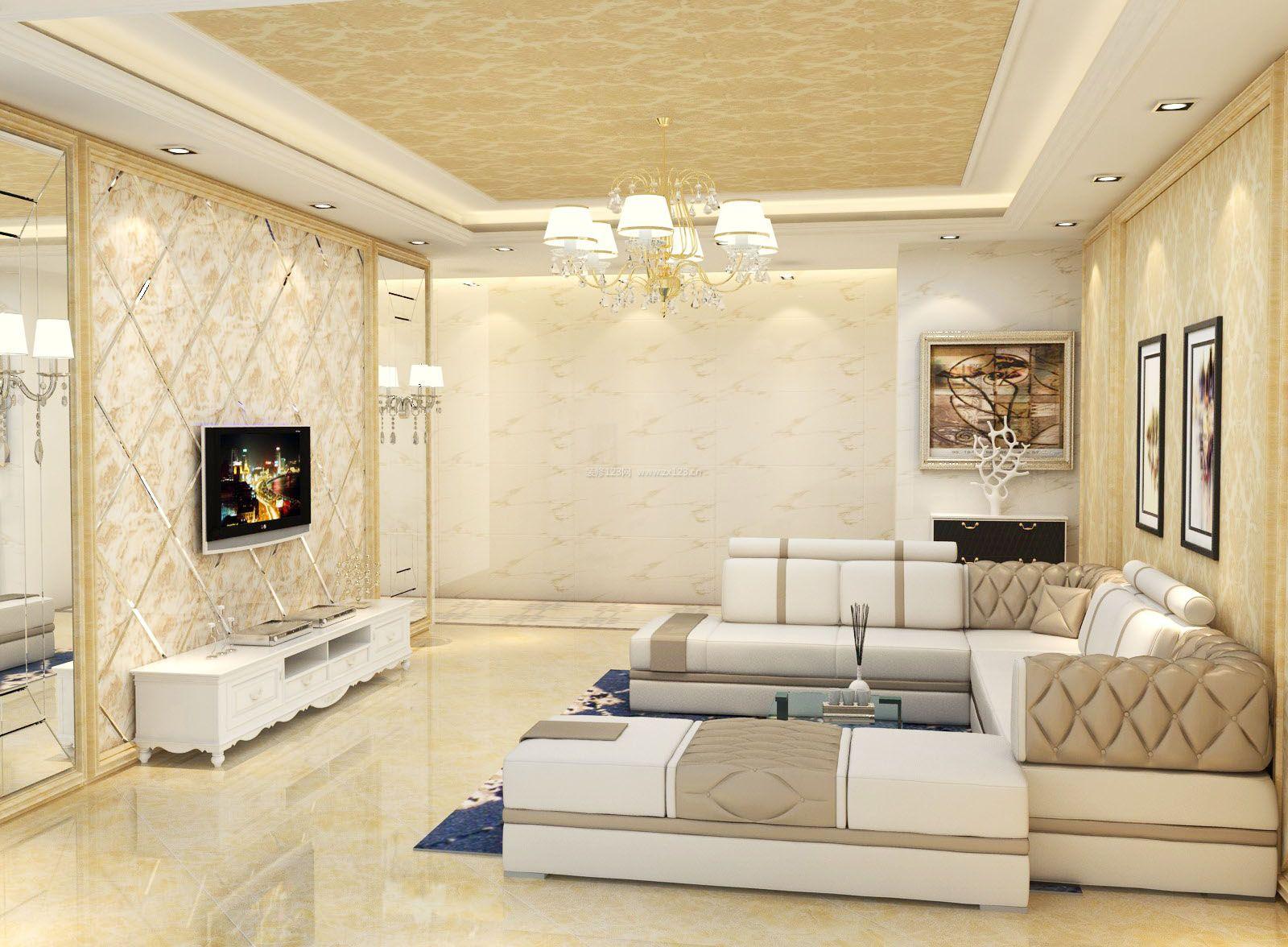 整体客厅微晶石电视背景墙效果图_装修123效果图