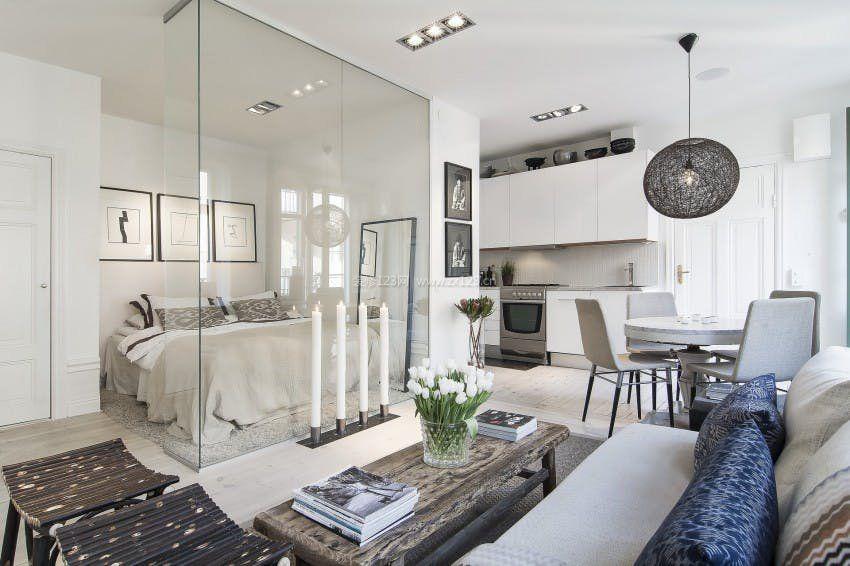 40平公寓卧室玻璃隔断装修图