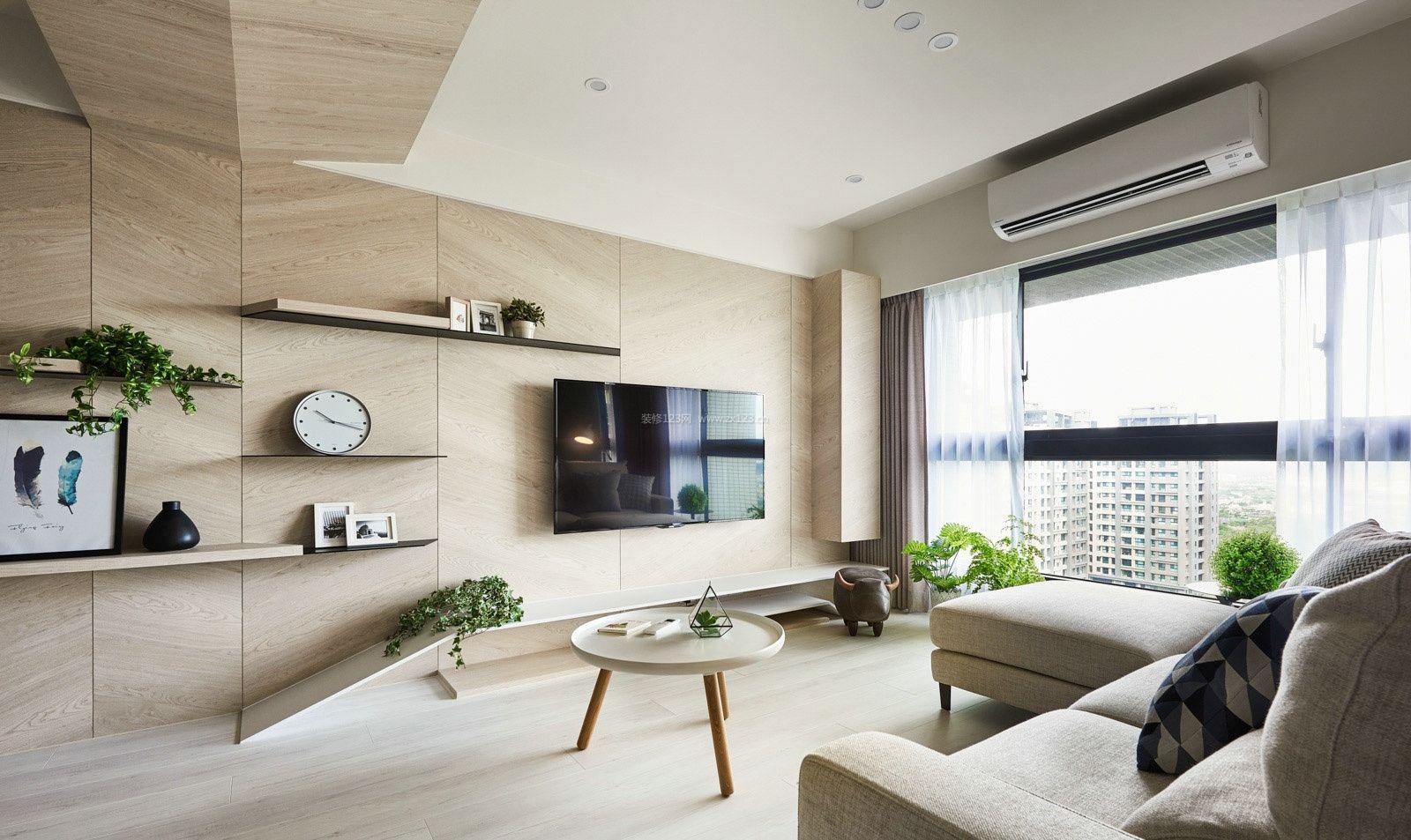 现代北欧风格家装电视墙装饰架效果图