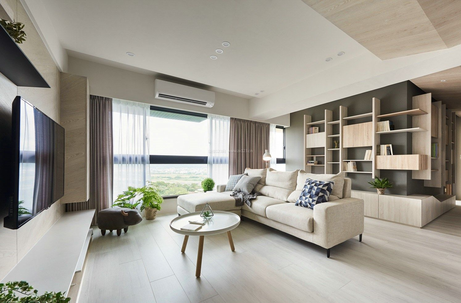 2017现代北欧风格客厅书房装修效果图欣赏图片