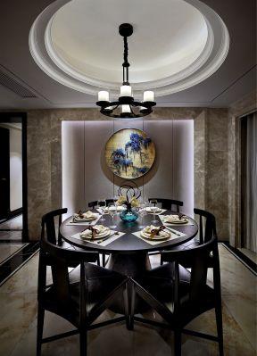 2017新中式餐厅背景墙装修效果图片大全图片