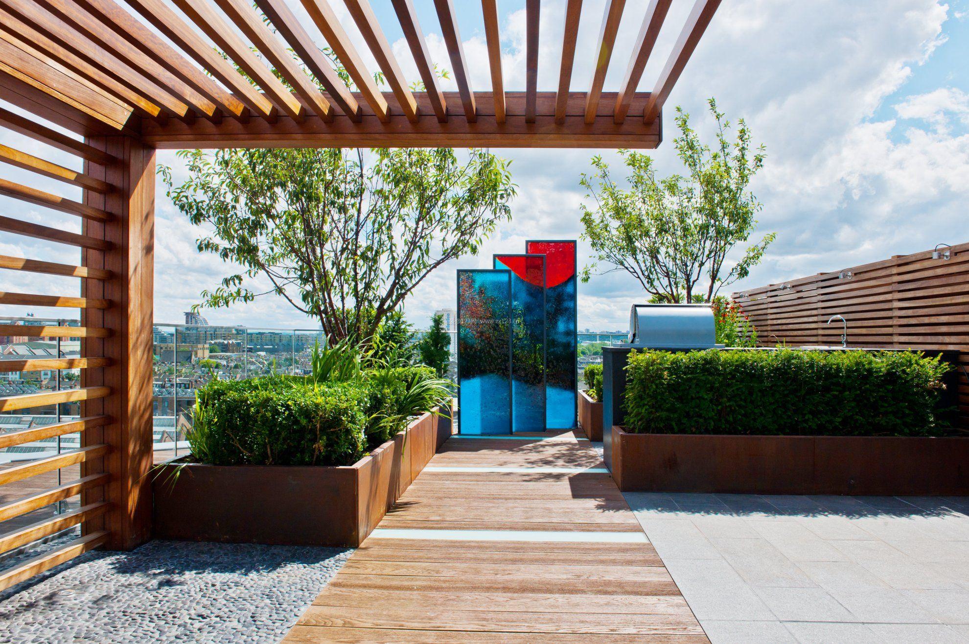 别墅屋顶花园走廊效果图_装修123效果图