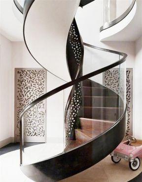 复式创意旋转楼梯玻璃扶手效果图图片