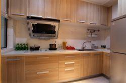 2017現代開放式廚房原木櫥柜裝修效果圖片