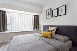 2017北欧温馨卧室飘窗窗帘装修效果图片