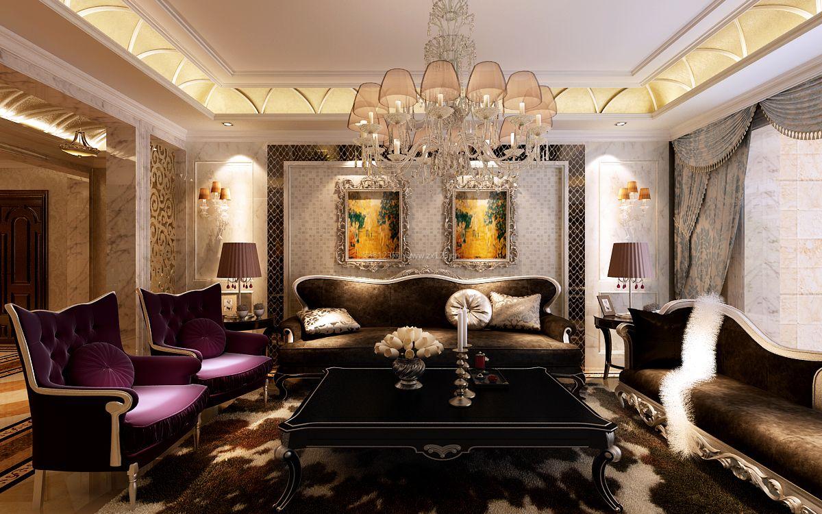 2017欧式新古典客厅沙发背景墙装修效果图片图片